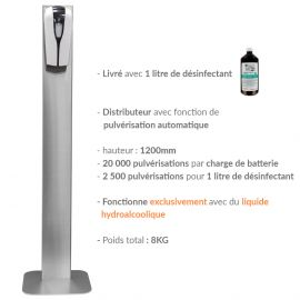 distributeur gel hydroalcoolique sur pied inox