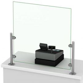 Pieds inox pour écran Protection de Comptoir d'accueil