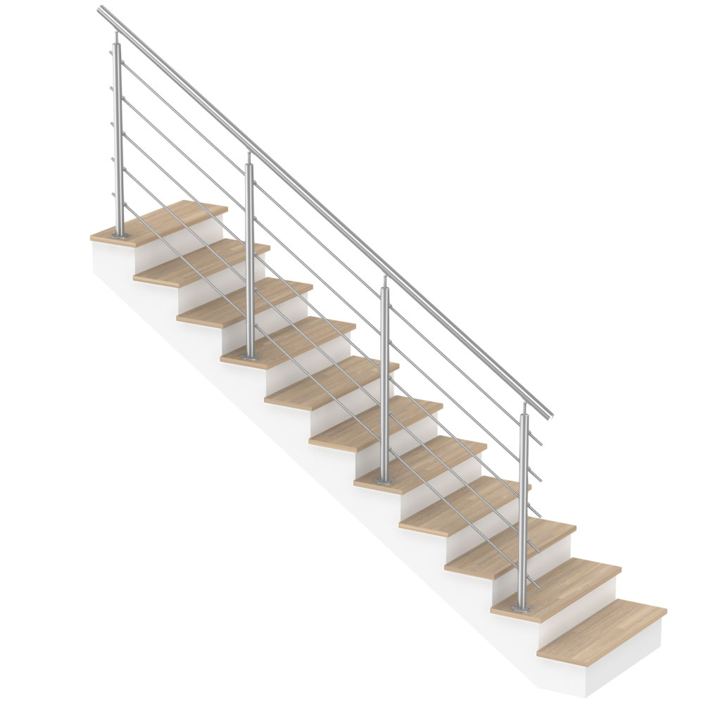 Escalier Modulaire Pas Cher garde-corps inox à barres - kit escalier droit - pose au sol - 3 mètres
