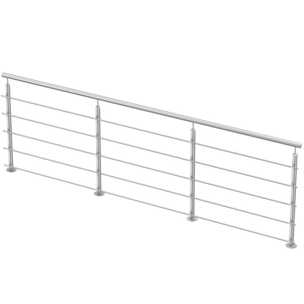 Escalier Modulaire Pas Cher garde-corps extérieur inox à barres - kit droit - pose au sol - 3 mètres