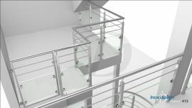 garde corps verre inox de tremie escalier Mezzanine