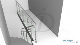 garde corps verre inox droit de tremie escalier Mezzanine