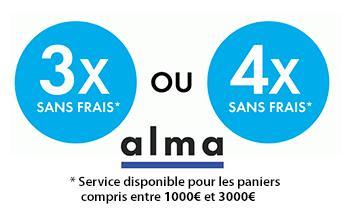 Paiement en 3 ou 4 fois sans frais pour les paniers compris entre 1 000 et 3 000 €