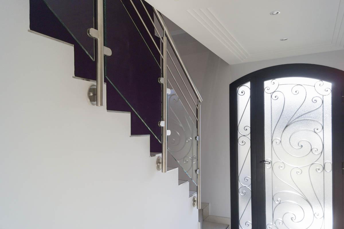 rampe escalier inox  et verre