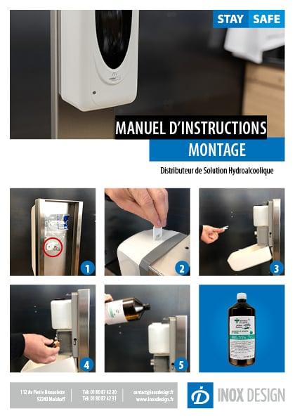 montage distributeur automatique désinfectant hydroalcoolique